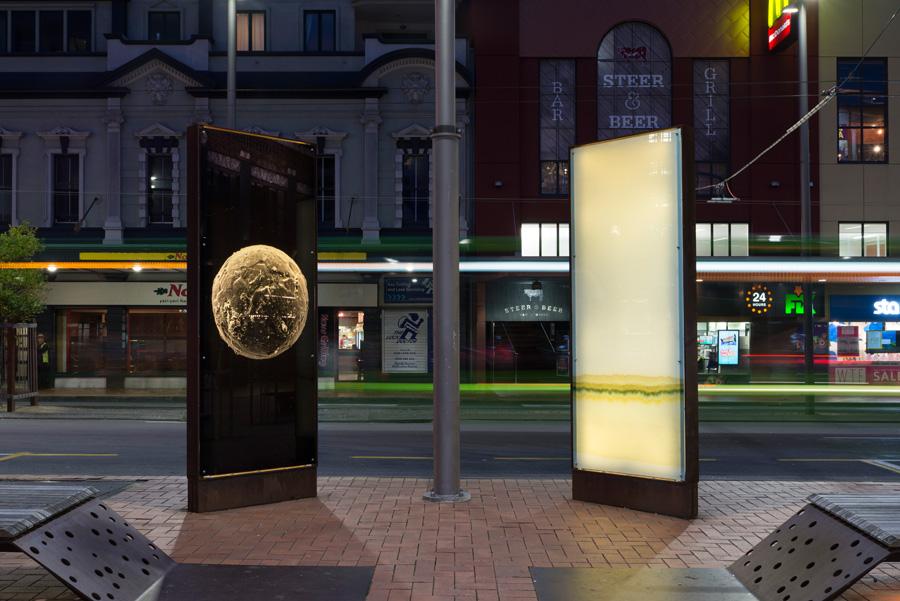 Courtenay Place Park light boxes.